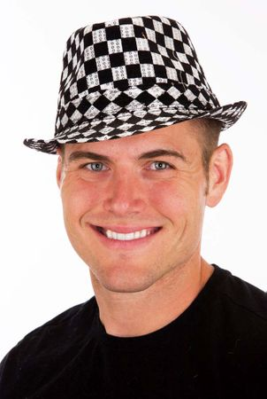 Black/White Checked Sequin Fedora