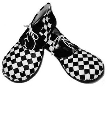 Adult Black/White Checkered Clown Shoes