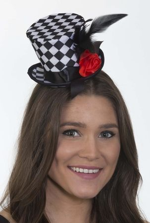 Black/White Checkered Mini Top Hat