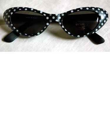 Black/White Polka Dot Cat Eye Sunglasses