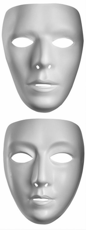 Blank White Face Mask - Man or Woman