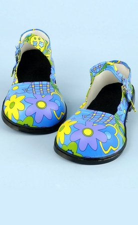 Blue Flower Mary Jane Clown Shoes