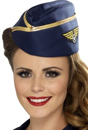 Blue/Gold Retro Flight Attendant Hat