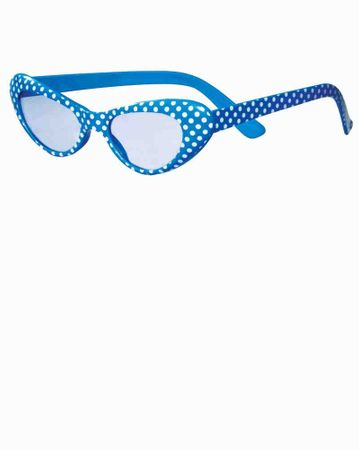Blue/White Polka Dot 50's Cat Eye Glasses
