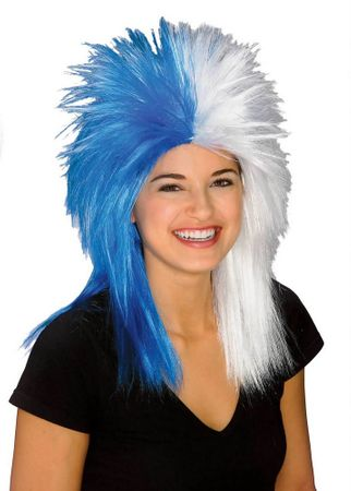 Blue/White Sports Fan Wig