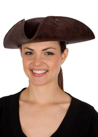 Brown Distressed Faux Leather Tricorne Hat