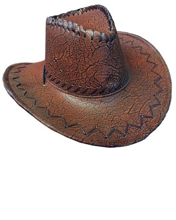 Brown Faux Leather Cowboy Hat