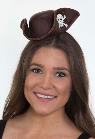 Brown Faux Leather Mini Pirate Hat