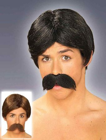 Burt Wig and Mustache - Black or Brown