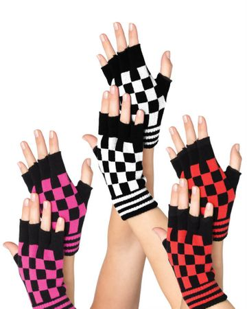 Checkerboard/Stripe Fingerless Gloves - More Colors