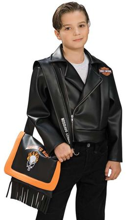 Child's Black Harley Davidson Jacket Biker Costume, Size Small