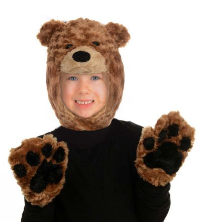Child's Brown Bear Hood and Mitts Set