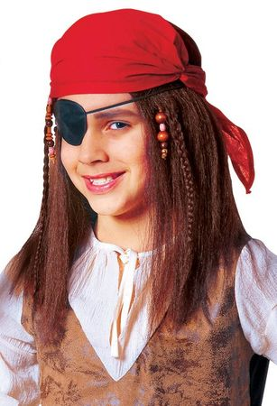 Child's Brown Buccaneer Wig