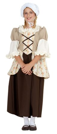 Child's Brown Floral Colonial Girl Costume
