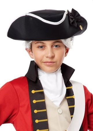 Child's Deluxe Black Colonial Tricorne Hat