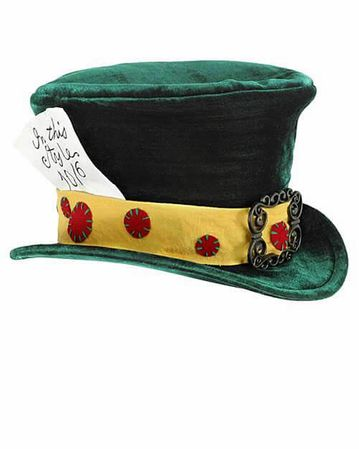 Child's Deluxe Green Mad Hatter Top Hat