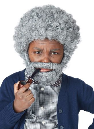 Child's Old Man Wig, Beard and Pipe Costume Kit