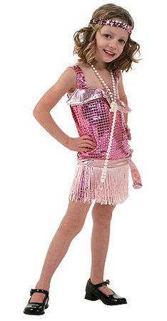 Child's Pink Sequin Flapper Costume, Size 6/8