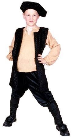 Child's Renaissance Boy Costume - Black