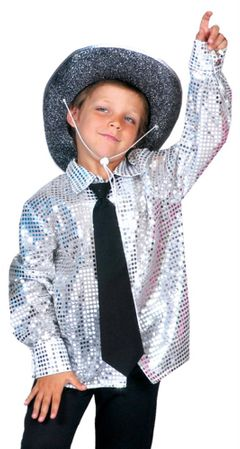 Child's Silver Stardust Sequin Disco Shirt