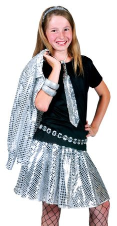 Child's Silver Stardust Sequin Disco Skirt