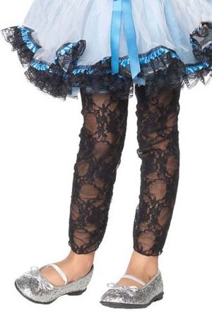Child's Stretch Lace Footless Tights - Black or White