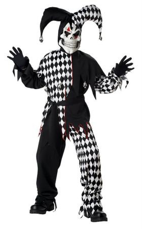 Child's White/Black Evil Jester Costume
