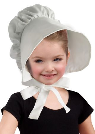 Child's White Cloth Colonial Bonnet