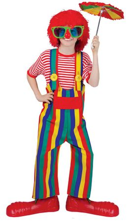 Child Size Rainbow Striped Clown Overalls Costume