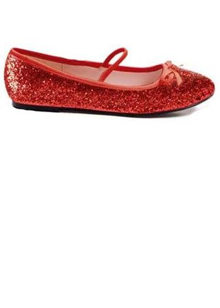 Child Size Red Glitter Ballet Flat Shoes