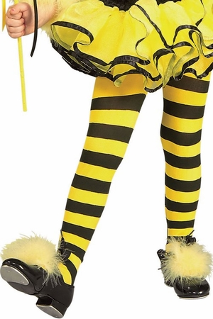 Child Size Yellow/Black Striped Tights
