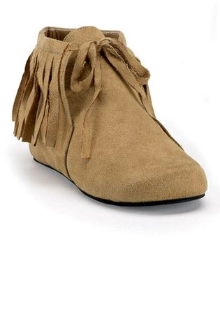 Children's Tan Fringed Indian Moccasins