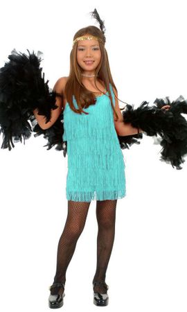 Child's Aqua Fringed Flapper Costume
