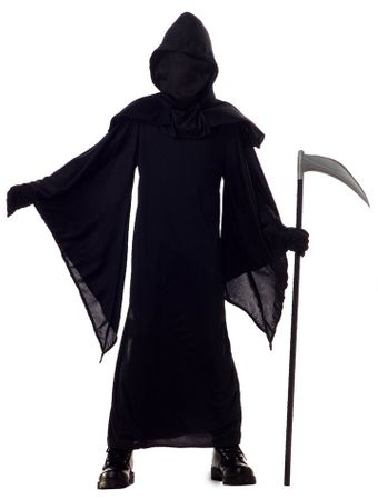 Child's Black Hooded Horror Robe Costume
