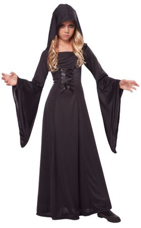 Child's Black Hooded Robe Costume