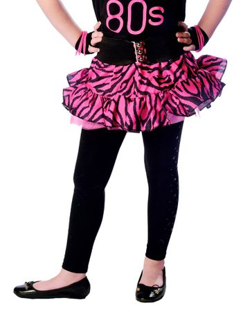 Child's Hot Pink Zebra Print 80's Skirt