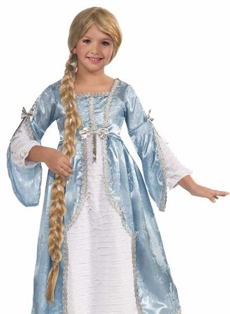 Child's Long Blonde Braided Rapunzel Wig