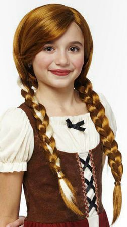 Child's Natural Red Pigtail Braids Wig
