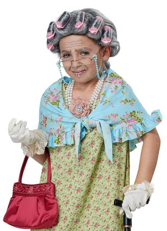 Child's Old Lady Wig and Shawl Costume Kit
