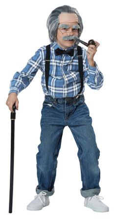 Child's Old Man Wig and Suspenders Costume Kit