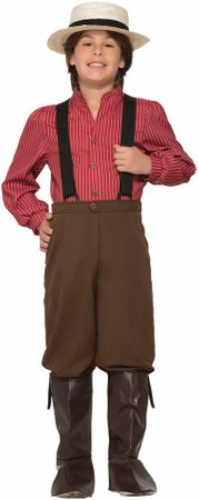 Child's Burgundy Pioneer Boy Costume