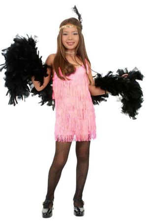 Child's Rose Pink Fringed Flapper Costume