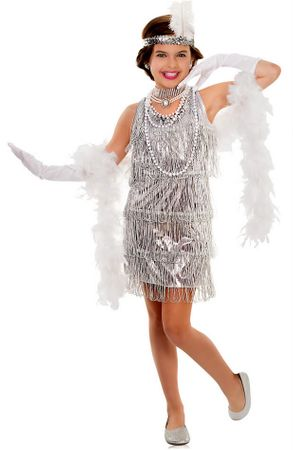 Child's Silver Dazzling Flapper Dress Costume