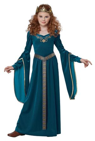 Child's Teal Medieval Princess Costume