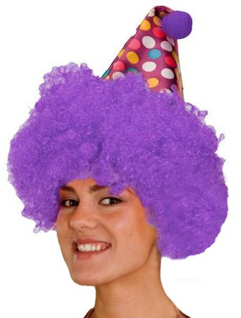 Purple Clown Wig With Attached Polka Dot Hat