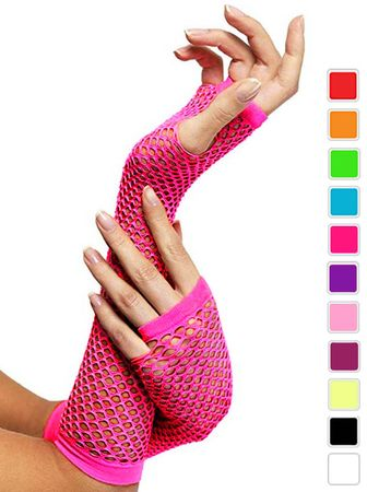 Colorful Fingerless Fishnet Arm Warmers