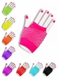 Colorful Fingerless Fishnet Gloves