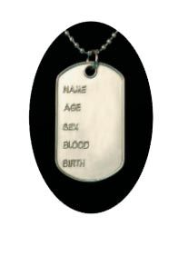 Costume Military Dog Tag Necklace