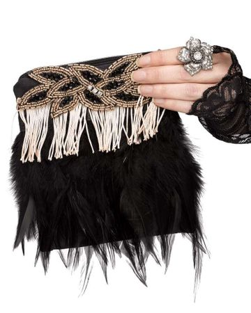 Deluxe 1920's Champagne/Black Feather Flapper Purse