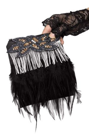 Deluxe 1920's Silver/Black Feather Flapper Purse